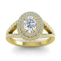 Ornate Oval Halo Dhala Diamond Ring in 14k Yellow Gold