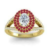 Ornate Oval Halo Dhala Diamond Ring with Ruby in 14k Yellow Gold