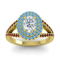 Ornate Oval Halo Dhala Diamond Ring with Swiss Blue Topaz and Garnet in 14k Yellow Gold