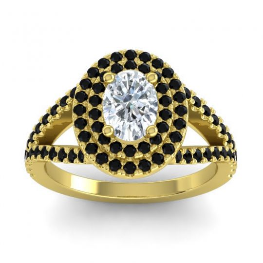 Ornate Oval Halo Dhala Diamond Ring with Black Onyx in 14k Yellow Gold