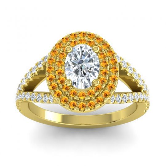 Ornate Oval Halo Dhala Diamond Ring with Citrine in 14k Yellow Gold