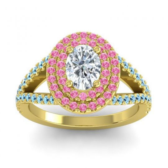 Ornate Oval Halo Dhala Diamond Ring with Pink Tourmaline and Aquamarine in 14k Yellow Gold