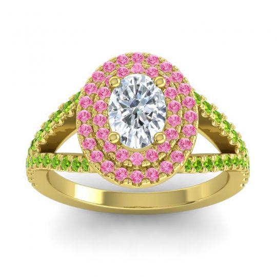 Ornate Oval Halo Dhala Diamond Ring with Pink Tourmaline and Peridot in 14k Yellow Gold