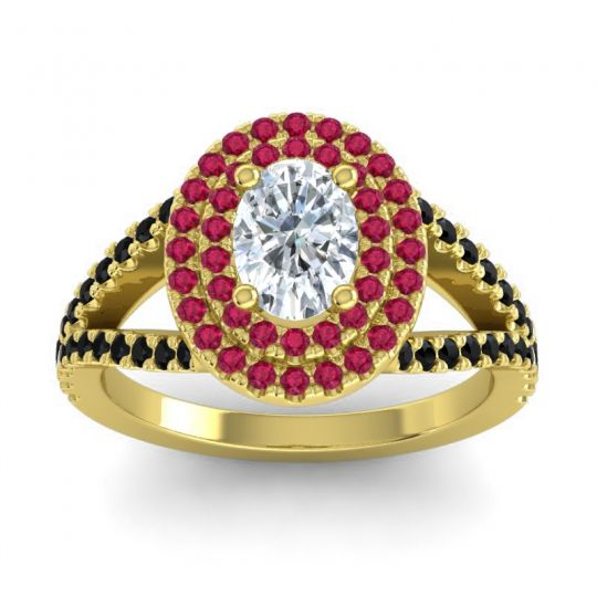 Ornate Oval Halo Dhala Diamond Ring with Ruby and Black Onyx in 14k Yellow Gold
