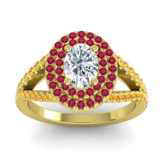Ornate Oval Halo Dhala Diamond Ring with Ruby and Citrine in 18k Yellow Gold