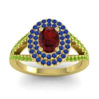 Ornate Oval Halo Dhala Garnet Ring with Blue Sapphire and Peridot in 18k Yellow Gold