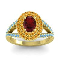 Ornate Oval Halo Dhala Garnet Ring with Citrine and Swiss Blue Topaz in 18k Yellow Gold