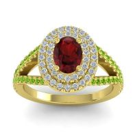 Ornate Oval Halo Dhala Garnet Ring with Diamond and Peridot in 18k Yellow Gold