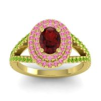 Ornate Oval Halo Dhala Garnet Ring with Pink Tourmaline and Peridot in 14k Yellow Gold