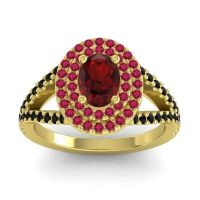 Ornate Oval Halo Dhala Garnet Ring with Ruby and Black Onyx in 18k Yellow Gold