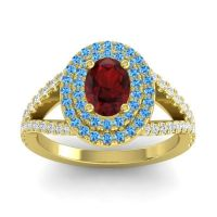 Ornate Oval Halo Dhala Garnet Ring with Swiss Blue Topaz and Diamond in 18k Yellow Gold