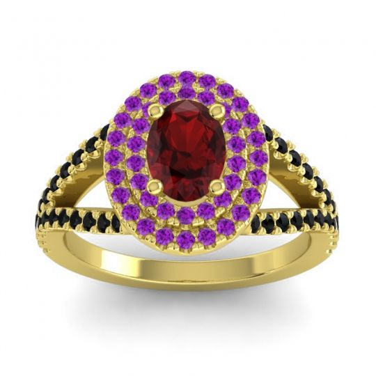 Ornate Oval Halo Dhala Garnet Ring with Amethyst and Black Onyx in 18k Yellow Gold