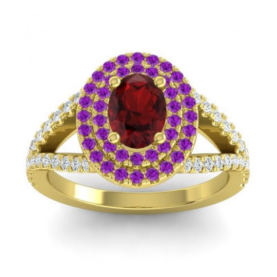 Ornate Oval Halo Dhala Garnet Ring with Amethyst and Diamond in 14k Yellow Gold