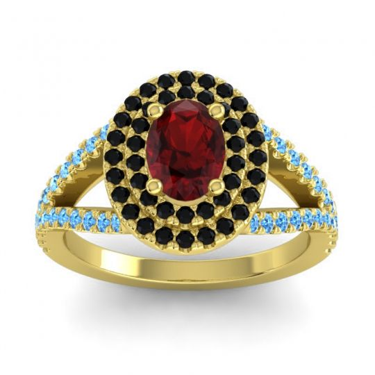 Ornate Oval Halo Dhala Garnet Ring with Black Onyx and Swiss Blue Topaz in 14k Yellow Gold