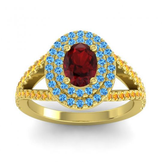Ornate Oval Halo Dhala Garnet Ring with Swiss Blue Topaz and Citrine in 18k Yellow Gold