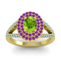 Ornate Oval Halo Dhala Peridot Ring with Amethyst and Aquamarine in 18k Yellow Gold