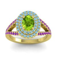 Ornate Oval Halo Dhala Peridot Ring with Aquamarine and Amethyst in 14k Yellow Gold