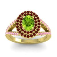 Ornate Oval Halo Dhala Peridot Ring with Garnet and Pink Tourmaline in 18k Yellow Gold