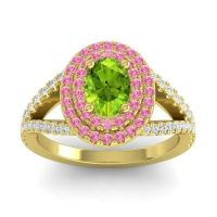 Ornate Oval Halo Dhala Peridot Ring with Pink Tourmaline and Diamond in 14k Yellow Gold