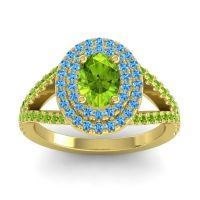 Ornate Oval Halo Dhala Peridot Ring with Swiss Blue Topaz in 14k Yellow Gold