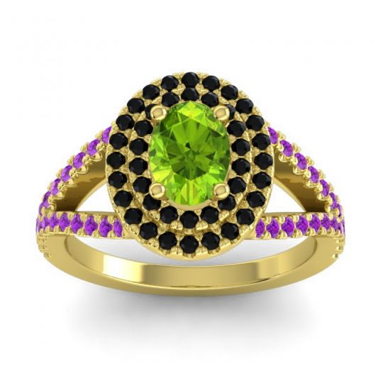 Ornate Oval Halo Dhala Peridot Ring with Black Onyx and Amethyst in 14k Yellow Gold