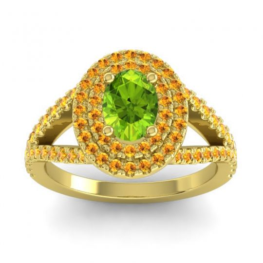 Ornate Oval Halo Dhala Peridot Ring with Citrine in 14k Yellow Gold