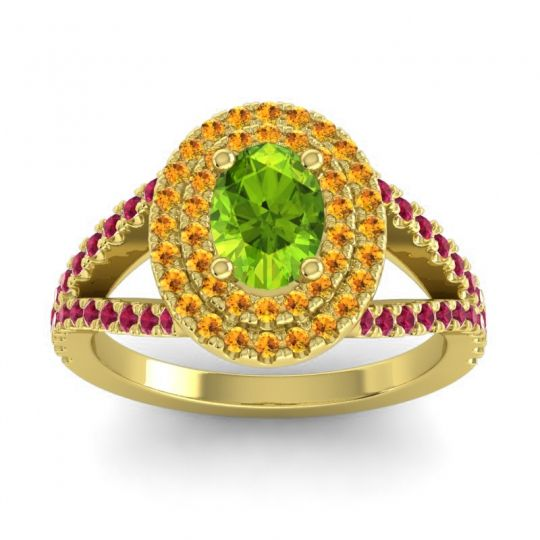 Ornate Oval Halo Dhala Peridot Ring with Citrine and Ruby in 14k Yellow Gold