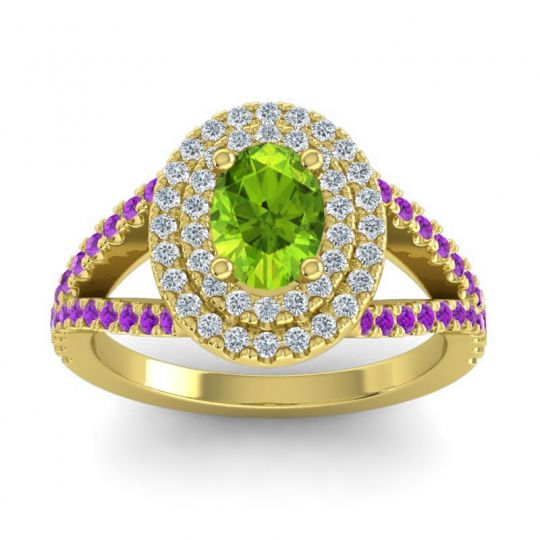 Ornate Oval Halo Dhala Peridot Ring with Diamond and Amethyst in 18k Yellow Gold