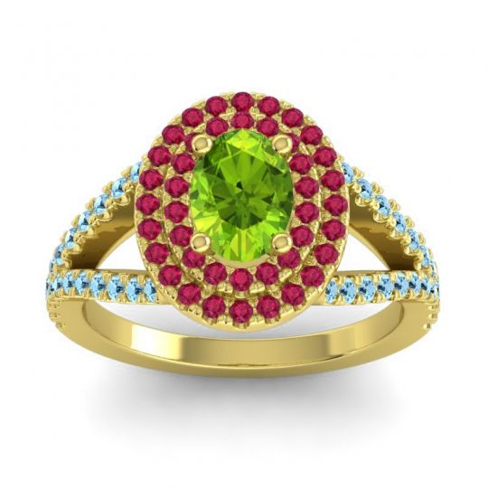 Ornate Oval Halo Dhala Peridot Ring with Ruby and Aquamarine in 14k Yellow Gold