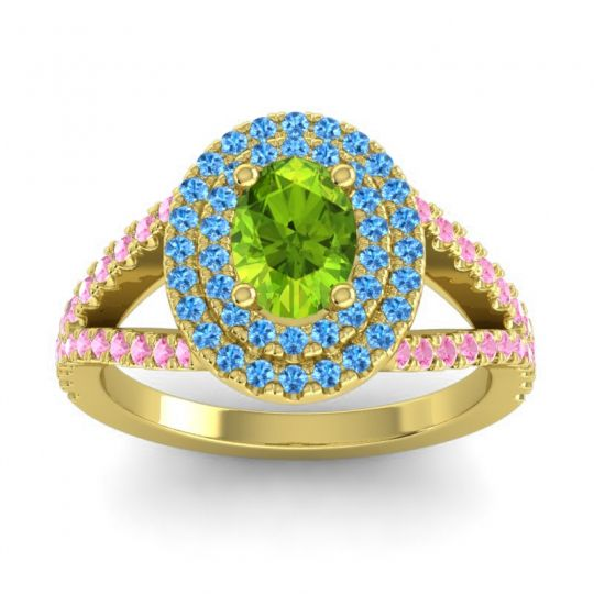 Ornate Oval Halo Dhala Peridot Ring with Swiss Blue Topaz and Pink Tourmaline in 18k Yellow Gold