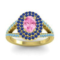 Ornate Oval Halo Dhala Pink Tourmaline Ring with Blue Sapphire and Swiss Blue Topaz in 18k Yellow Gold
