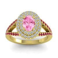 Ornate Oval Halo Dhala Pink Tourmaline Ring with Diamond and Ruby in 14k Yellow Gold