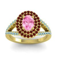 Ornate Oval Halo Dhala Pink Tourmaline Ring with Garnet and Aquamarine in 14k Yellow Gold