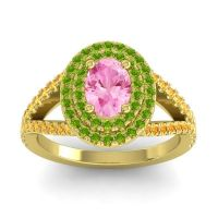 Ornate Oval Halo Dhala Pink Tourmaline Ring with Peridot and Citrine in 14k Yellow Gold
