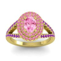 Ornate Oval Halo Dhala Pink Tourmaline Ring with Amethyst in 18k Yellow Gold