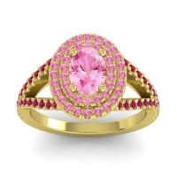 Ornate Oval Halo Dhala Pink Tourmaline Ring with Ruby in 18k Yellow Gold
