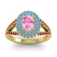 Ornate Oval Halo Dhala Pink Tourmaline Ring with Swiss Blue Topaz and Ruby in 14k Yellow Gold