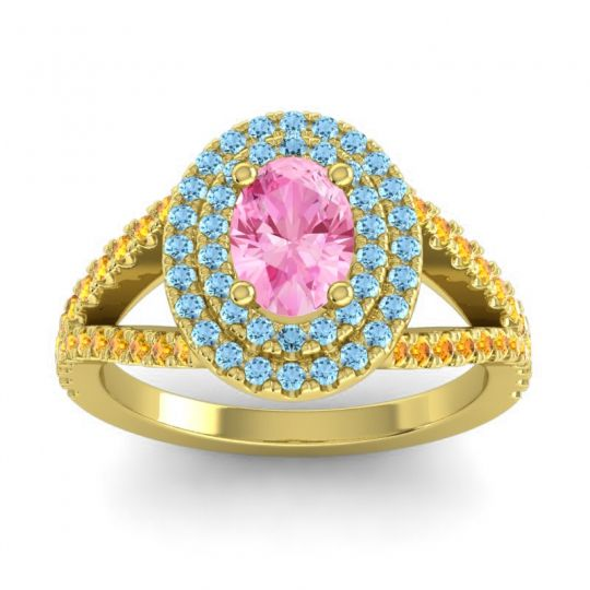 Ornate Oval Halo Dhala Pink Tourmaline Ring with Aquamarine and Citrine in 18k Yellow Gold