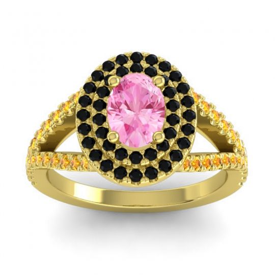 Ornate Oval Halo Dhala Pink Tourmaline Ring with Black Onyx and Citrine in 14k Yellow Gold