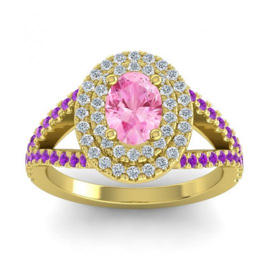 Ornate Oval Halo Dhala Pink Tourmaline Ring with Diamond and Amethyst in 14k Yellow Gold