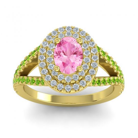 Ornate Oval Halo Dhala Pink Tourmaline Ring with Diamond and Peridot in 14k Yellow Gold