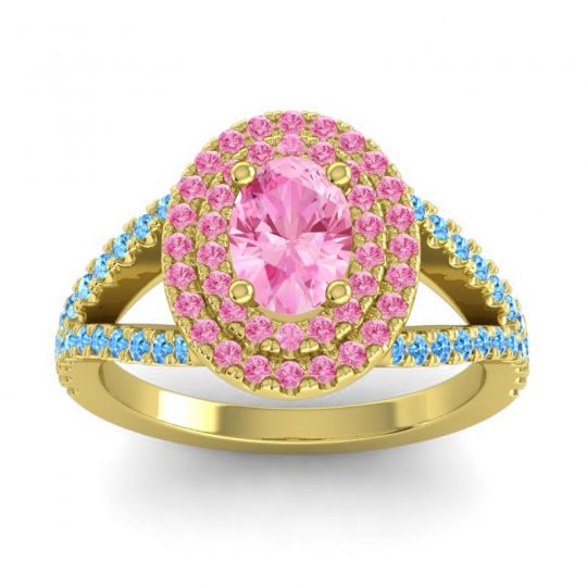 Ornate Oval Halo Dhala Pink Tourmaline Ring with Swiss Blue Topaz in 18k Yellow Gold
