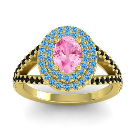 Ornate Oval Halo Dhala Pink Tourmaline Ring with Swiss Blue Topaz and Black Onyx in 18k Yellow Gold