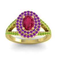 Ornate Oval Halo Dhala Ruby Ring with Amethyst and Peridot in 18k Yellow Gold