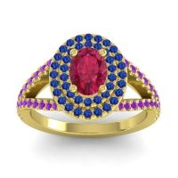 Ornate Oval Halo Dhala Ruby Ring with Blue Sapphire and Amethyst in 18k Yellow Gold