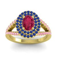 Ornate Oval Halo Dhala Ruby Ring with Blue Sapphire and Pink Tourmaline in 18k Yellow Gold