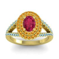 Ornate Oval Halo Dhala Ruby Ring with Citrine and Aquamarine in 18k Yellow Gold