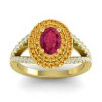 Ornate Oval Halo Dhala Ruby Ring with Citrine and Diamond in 14k Yellow Gold