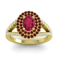 Ornate Oval Halo Dhala Ruby Ring with Garnet and Diamond in 14k Yellow Gold