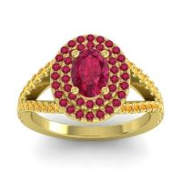 Ornate Oval Halo Dhala Ruby Ring with Citrine in 18k Yellow Gold